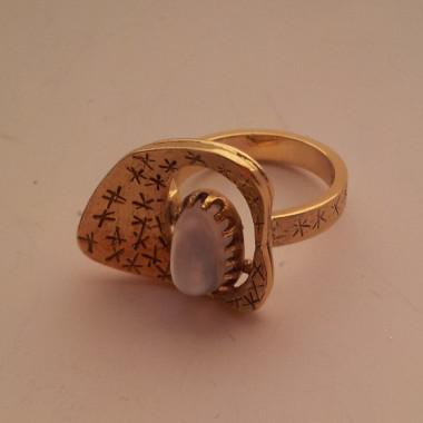 Anello Oro Giallo 18 kt Pietra LunariaCielo-Stellato