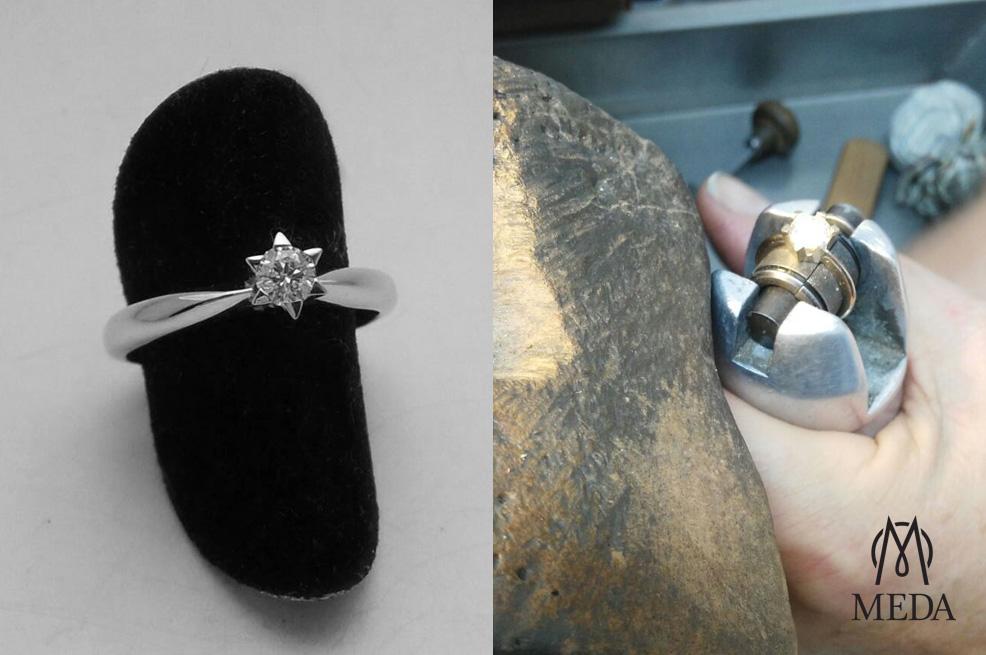 Anello solitario artigianale a stella lavorazione e prodotto finito