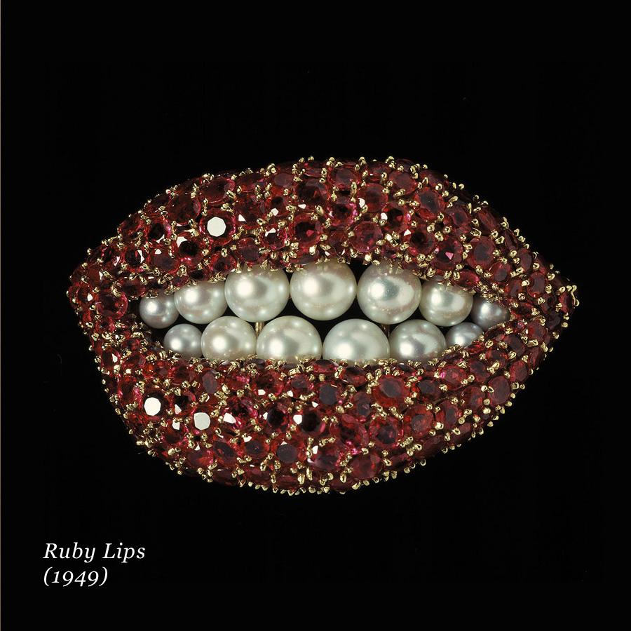 Un gioiello in rubini e perle di Salvador Dalì, Ruby Lips del 1949
