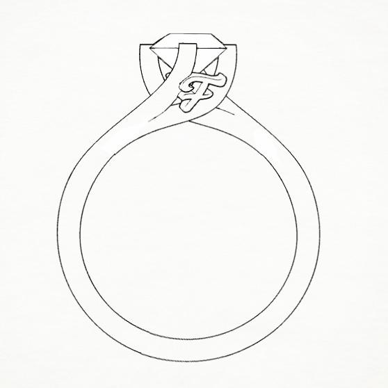 Disegno di anello Solitario, particolare castone con lettera F