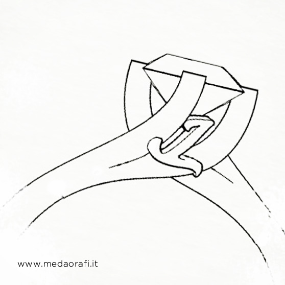 Sketch anello solitario castone con diamante