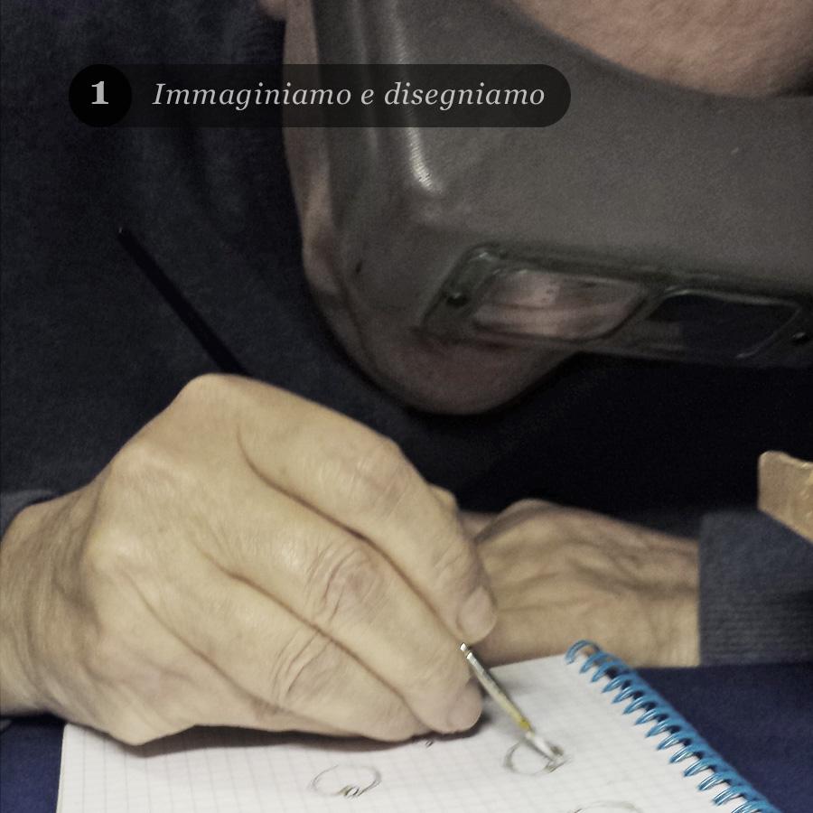 Un orafo realizza uno schizzo di un gioiello su carta